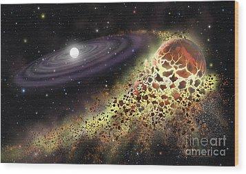 White Dwarf Shredding A Planet Wood Print by Lynette Cook