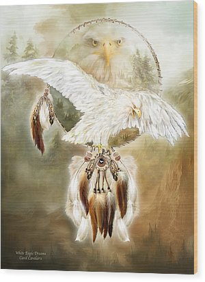 Wood Print featuring the mixed media White Eagle Dreams by Carol Cavalaris