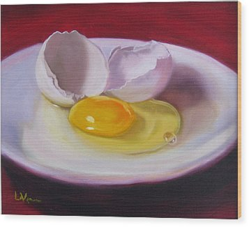 Wood Print featuring the painting White Egg Study by LaVonne Hand
