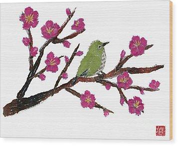 White Eye And Japanese Plum Tree Wood Print by Keiko Suzuki