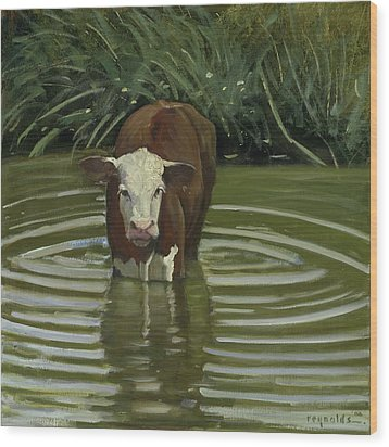 Wood Print featuring the painting White Face Herford In The Pond by John Reynolds
