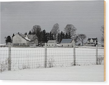 White Farm On A Gray Day  Wood Print by Gene Walls