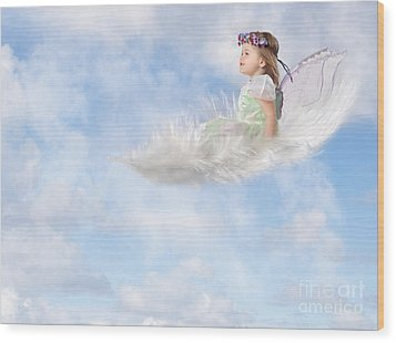 White Feather Dream Wood Print by Cindy Singleton
