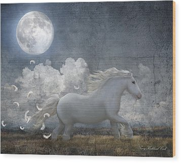 White Feathered Moon Wood Print by Terry Kirkland Cook