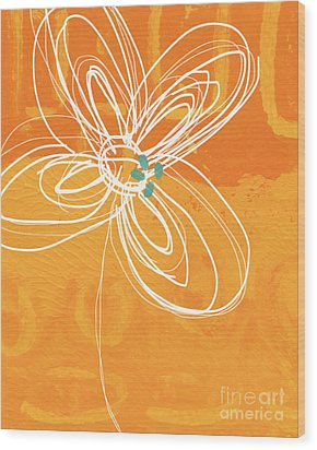 White Flower On Orange Wood Print