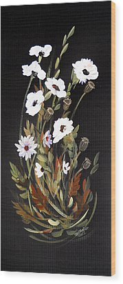 White Flowers Wood Print by Dorothy Maier