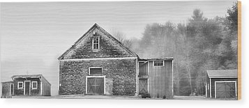 White Foggy Farm Wood Print