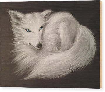 Wood Print featuring the drawing White Fox by Patricia Lintner