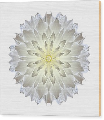 Giant White Dahlia I Flower Mandala White Wood Print