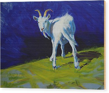 White Goat Painting Wood Print