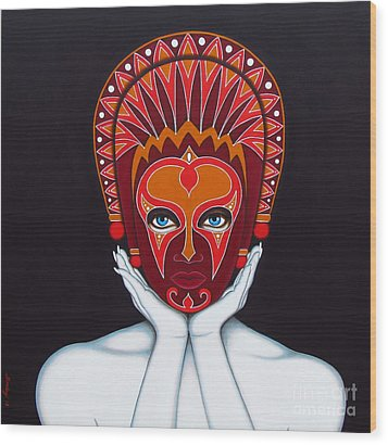 Wood Print featuring the painting White Goddess by Joseph Sonday