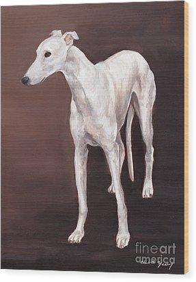 White Greyhound Wood Print by Charlotte Yealey