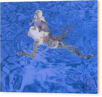 White Hair Blue Water 4 Wood Print by Dietrich ralph  Katz
