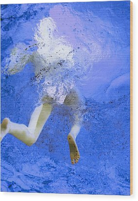 White Hair Blue Water Wood Print by Dietrich ralph  Katz