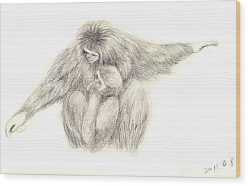 White Handed Gibbons--mother And Son Wood Print by Jingfen Hwu