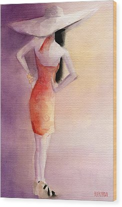 White Hat And Orange Sundress Fashion Illustration Art Print Wood Print by Beverly Brown