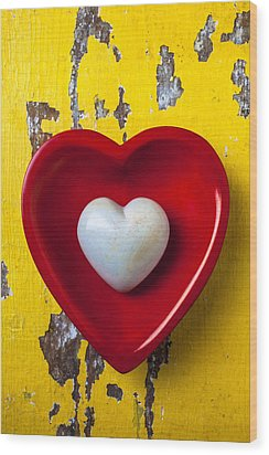 White Heart Red Heart Wood Print by Garry Gay