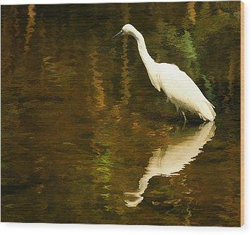 White Heron Wood Print by Dick Wood