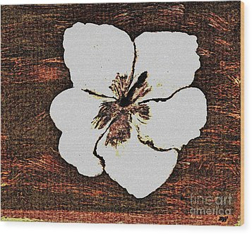 White Hibiscus Digital Painting Wood Print by Marsha Heiken