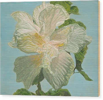 White Hibiscus Wood Print by Michael Allen Wolfe