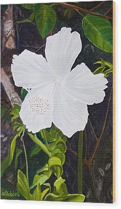 White Hibiscus Wood Print by Mike Robles