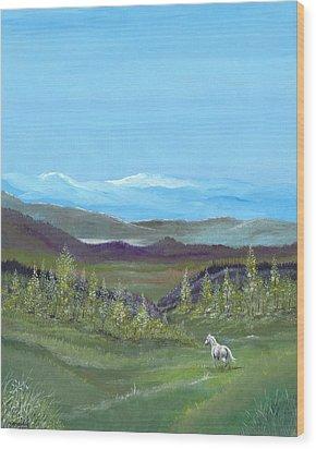 White Horse Wood Print