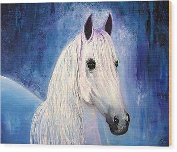 White Horse Wood Print by Doris Cohen