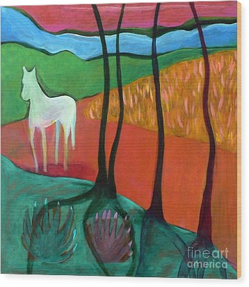 White Horse Wood Print by Elizabeth Fontaine-Barr