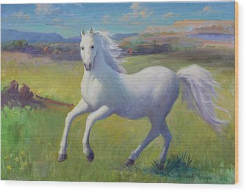 White Horse Wood Print by Gwen Carroll