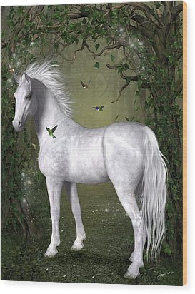 White Horse In The Woods Wood Print