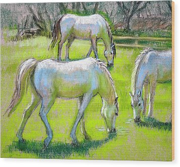 Wood Print featuring the painting White Horses Grazing by Sue Halstenberg