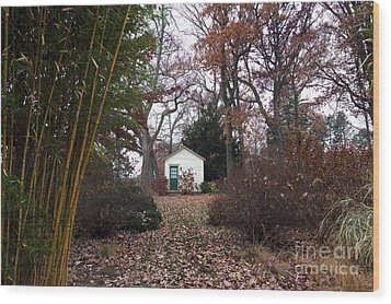 White House In The Garden Wood Print by John Rizzuto