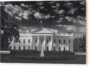 White House Sunrise B W Wood Print by Steve Gadomski