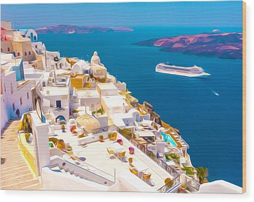 White Houses Of Santorini Wood Print by Lanjee Chee