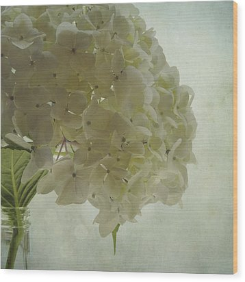 Wood Print featuring the photograph White Hydrangea by Sally Banfill