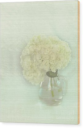 White Hydrangeas Wood Print by Kay Pickens