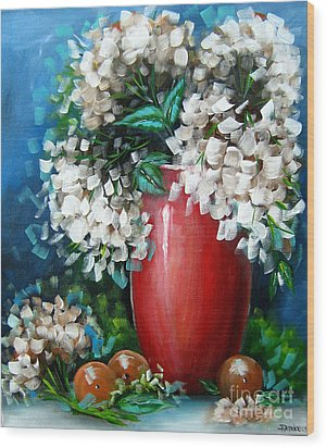 Wood Print featuring the painting White Hydrangeas by Patrice Torrillo