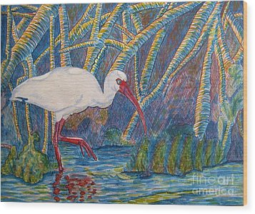 Wood Print featuring the painting White Ibis In The Mangroves by Judy Via-Wolff