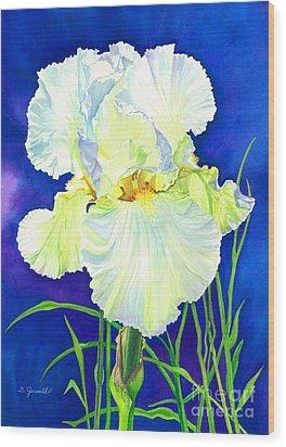 White Iris Wood Print by Barbara Jewell