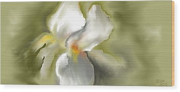 Wood Print featuring the digital art White Iris by Jessica Wright