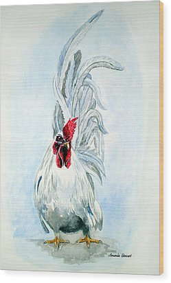 White Japanese Rooster Wood Print by Amanda Hukill