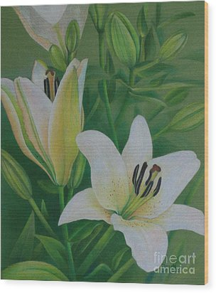 White Lily Wood Print by Pamela Clements