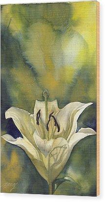 White Lily With Blue Wood Print by Alfred Ng
