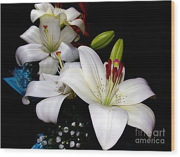Wood Print featuring the photograph White Lilys by Elvira Ladocki