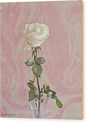 Wood Print featuring the photograph White Long Stemmed Rose by Sandra Foster