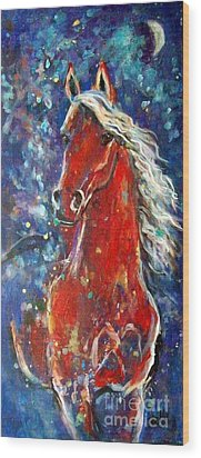 White Mane Wood Print by Relly Peckett