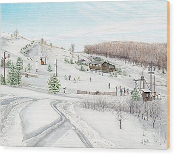 Wood Print featuring the painting White Mountain Resort by Albert Puskaric