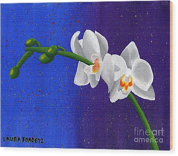 Wood Print featuring the painting White Orchids by Laura Forde