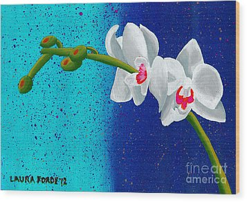 Wood Print featuring the painting White Orchids On Blue by Laura Forde