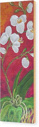 White Orchids On Red Wood Print by Paris Wyatt Llanso